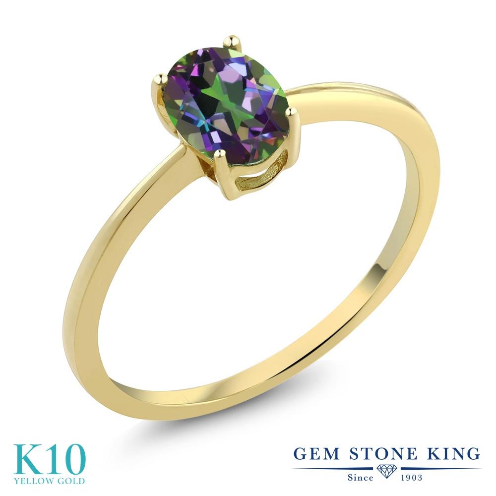 Gem Stone King 0.8カラット 天然石 ミスティックトパーズ (グリーン) 10金 イエローゴールド(K10) 指輪 リング レディース 一粒 シンプル ソリティア 天然石 金属アレルギー対応 婚約指輪 エンゲージリング