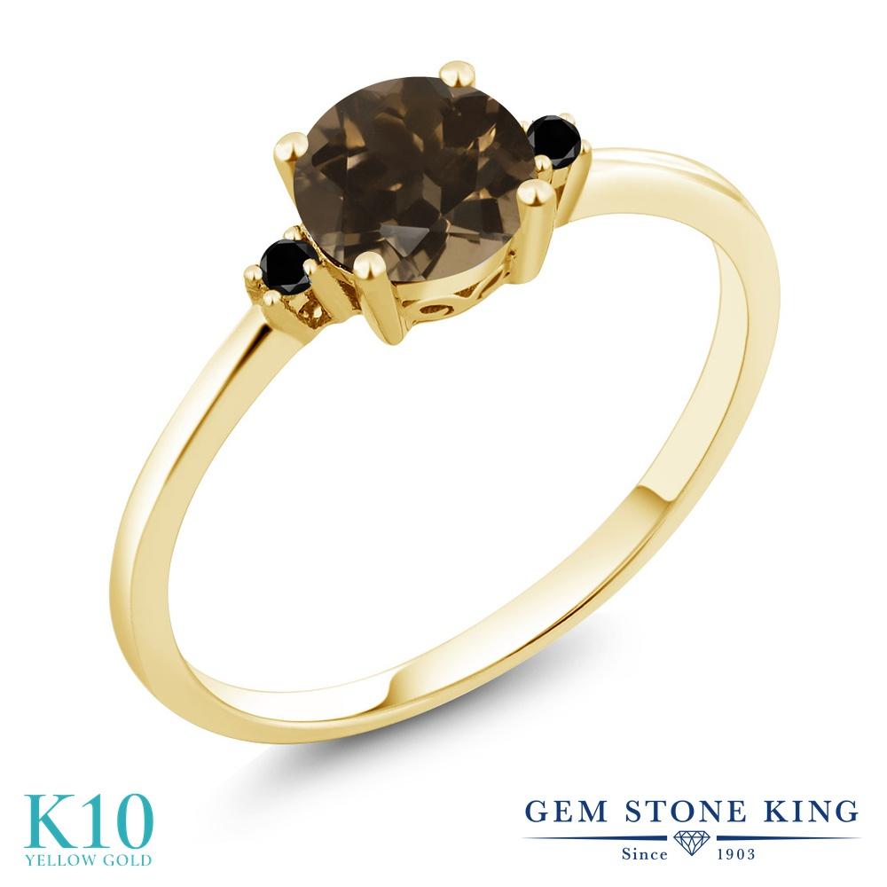 Gem Stone King 0.83カラット 天然 スモーキークォーツ (ブラウン) 天然ブラックダイヤモンド 10金 イエローゴールド(K10) 指輪 リング レディース 一粒 シンプル ソリティア 天然石 金属アレルギー対応 婚約指輪 エンゲージリング