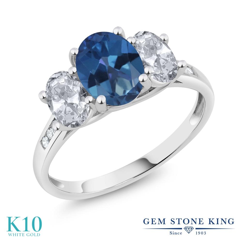 Gem Stone King 2.3カラット 天然 ミスティックトパーズ (サファイアブルー) 天然 トパーズ (無色透明) 天然 ダイヤモンド 10金 ホワイトゴールド(K10) 指輪 リング レディース 大粒 スリーストーン 天然石 金属アレルギー対応 誕生日プレゼント