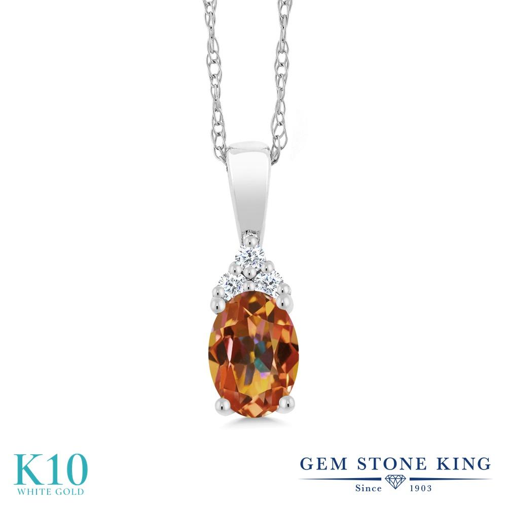 Gem Stone King 0.5カラット 天然石 エクスタシーミスティックトパーズ 天然 ダイヤモンド 10金 ホワイトゴールド(K10) ネックレス ペンダント レディース 小粒 天然石 金属アレルギー対応 誕生日プレゼント