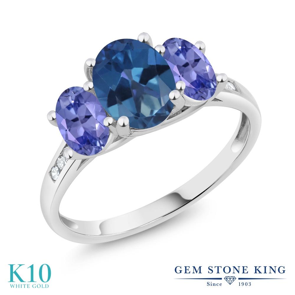 Gem Stone King 2.2カラット 天然 ミスティックトパーズ (サファイアブルー) 天然石 タンザナイト 天然 ダイヤモンド 10金 ホワイトゴールド(K10) 指輪 リング レディース 大粒 スリーストーン 天然石 金属アレルギー対応 誕生日プレゼント