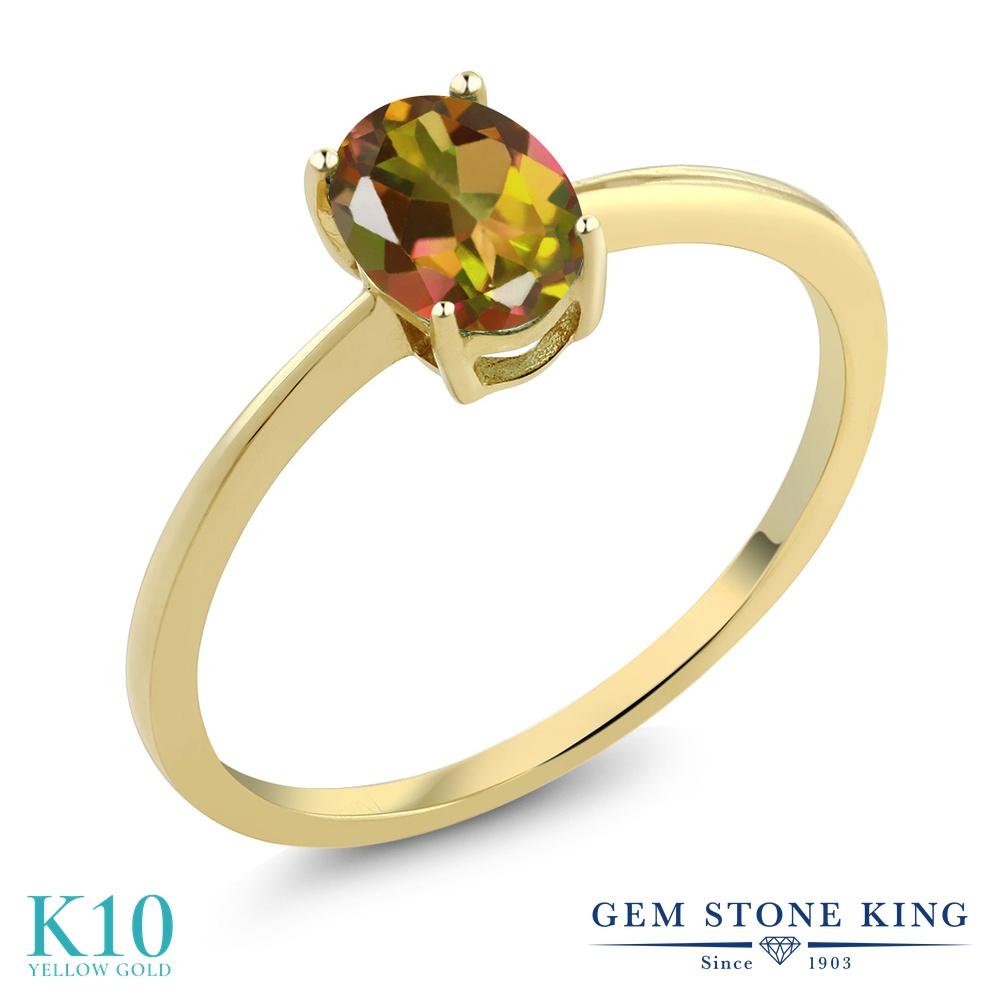 0.8カラット 天然石 ミスティックトパーズ (マンゴーオレンジ) 指輪 レディース リング 10金 イエローゴールド K10 ブランド おしゃれ 一粒 シンプル 細身 ソリティア 婚約指輪 エンゲージリング