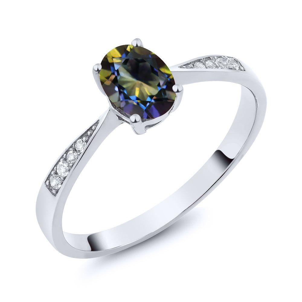 【クーポンで10%OFF】 Gem Stone King 0.86カラット 天然石 ミスティックトパーズ (ブルー) 天然 ダイヤモンド 10金 ホワイトゴールド(K10) 指輪 リング レディース ソリティア 天然石 金属アレルギー対応 誕生日プレゼント