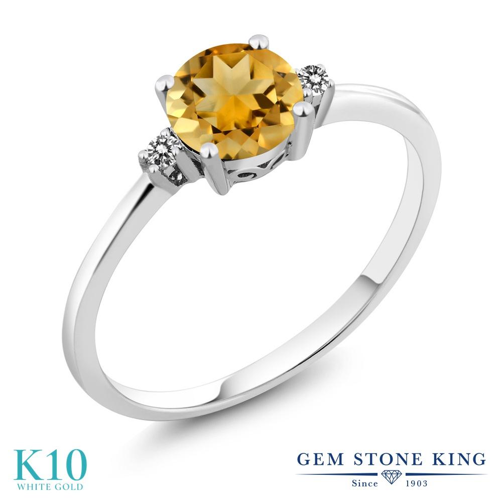 【10%OFF】 Gem Stone King 0.73カラット 天然 シトリン ダイヤモンド 指輪 リング レディース 10金 ホワイトゴールド K10 一粒 シンプル ソリティア 天然石 11月 誕生石 婚約指輪 エンゲージリング