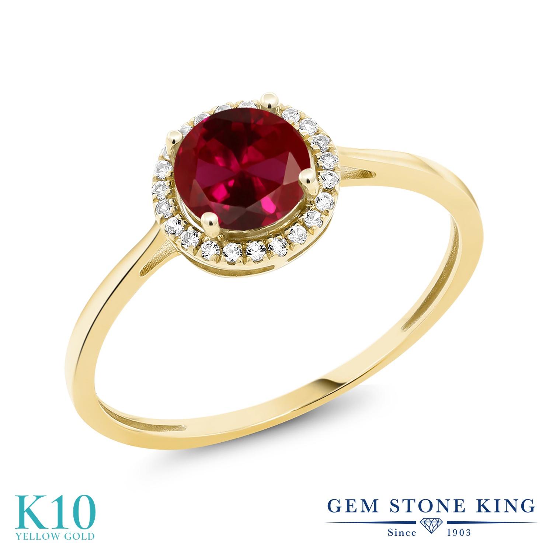Gem Stone King 1.22カラット 合成ルビー 天然 ダイヤモンド 10金 イエローゴールド(K10) 指輪 リング レディース 大粒 ヘイロー 金属アレルギー対応 誕生日プレゼント