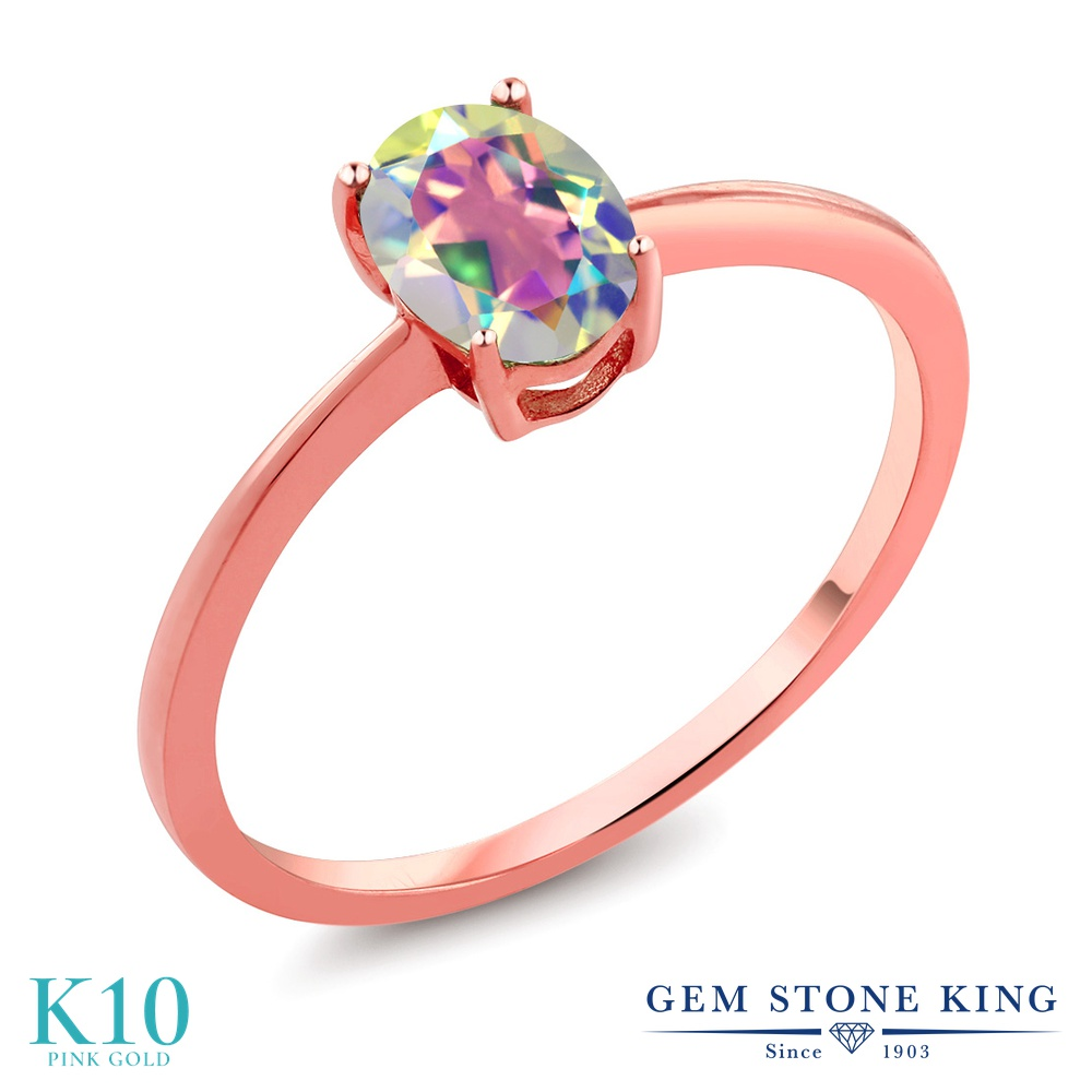 Gem Stone King 0.8カラット 天然石 ミスティックトパーズ (マーキュリーミスト) 10金 ピンクゴールド(K10) 指輪 リング レディース 一粒 シンプル ソリティア 天然石 金属アレルギー対応 誕生日プレゼント