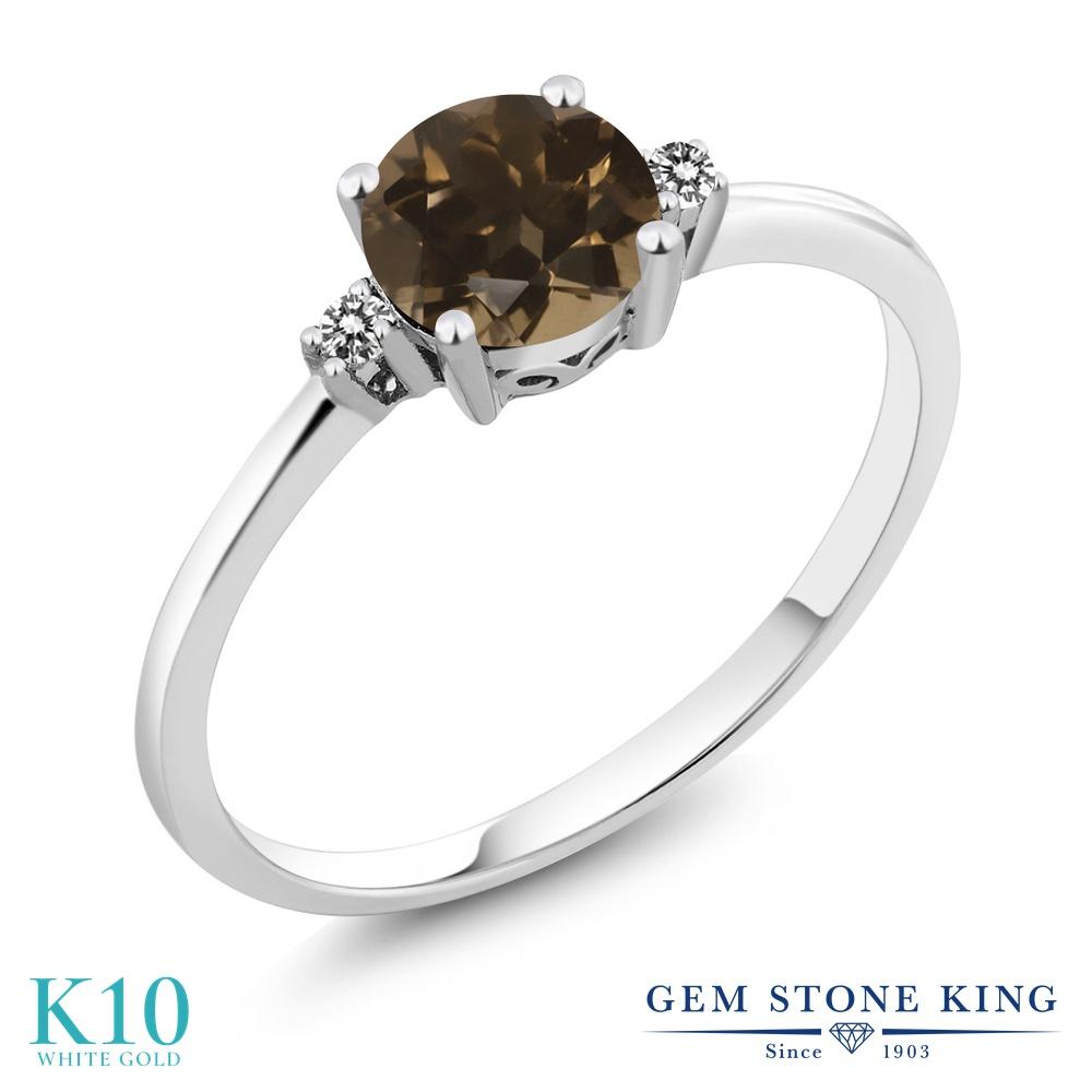 【10%OFF】 Gem Stone King 0.83カラット 天然 スモーキークォーツ (ブラウン) ダイヤモンド 指輪 リング レディース 10金 ホワイトゴールド K10 一粒 シンプル ソリティア 天然石 婚約指輪 エンゲージリング