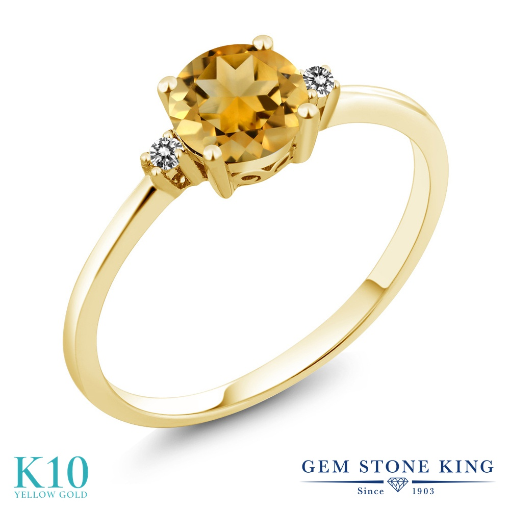 Gem Stone King 0.73カラット 天然 シトリン 天然 ダイヤモンド 10金 イエローゴールド(K10) 指輪 リング レディース 一粒 シンプル ソリティア 天然石 11月 誕生石 金属アレルギー対応 婚約指輪 エンゲージリング