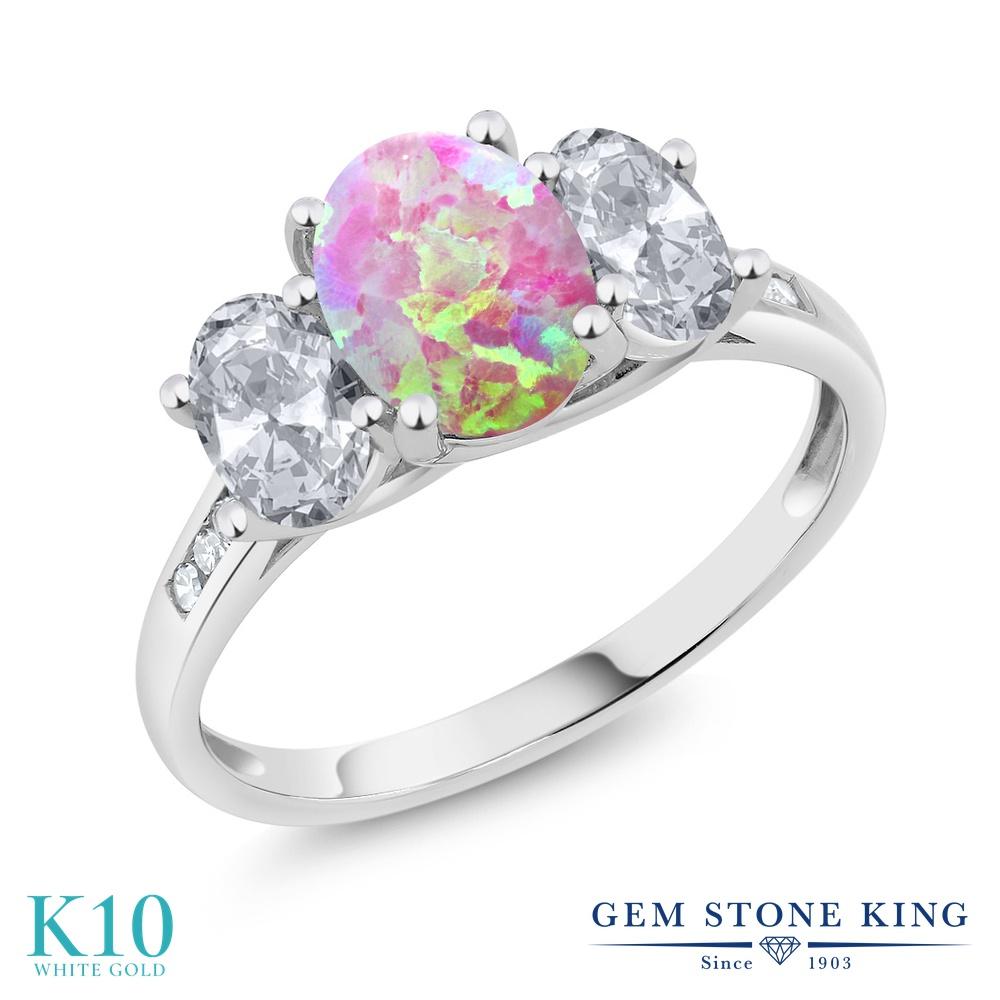Gem Stone King 2.05カラット シミュレイテッド ピンクオパール 天然 トパーズ (無色透明) 天然 ダイヤモンド 10金 ホワイトゴールド(K10) 指輪 リング レディース 大粒 スリーストーン 10月 誕生石 金属アレルギー対応 誕生日プレゼント