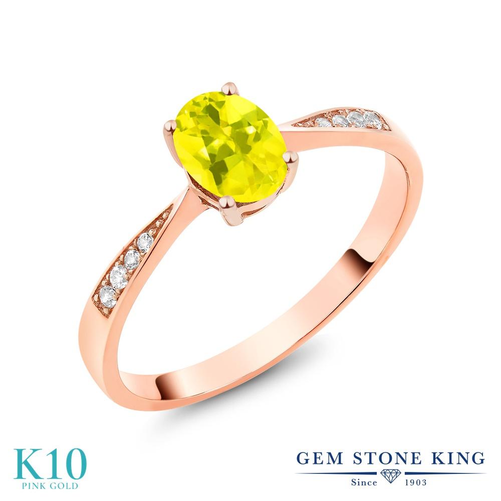 Gem Stone King 0.86カラット 天然石 ミスティックトパーズ (イエロー) 天然 ダイヤモンド 10金 ピンクゴールド(K10) 指輪 リング レディース ソリティア 天然石 金属アレルギー対応 誕生日プレゼント