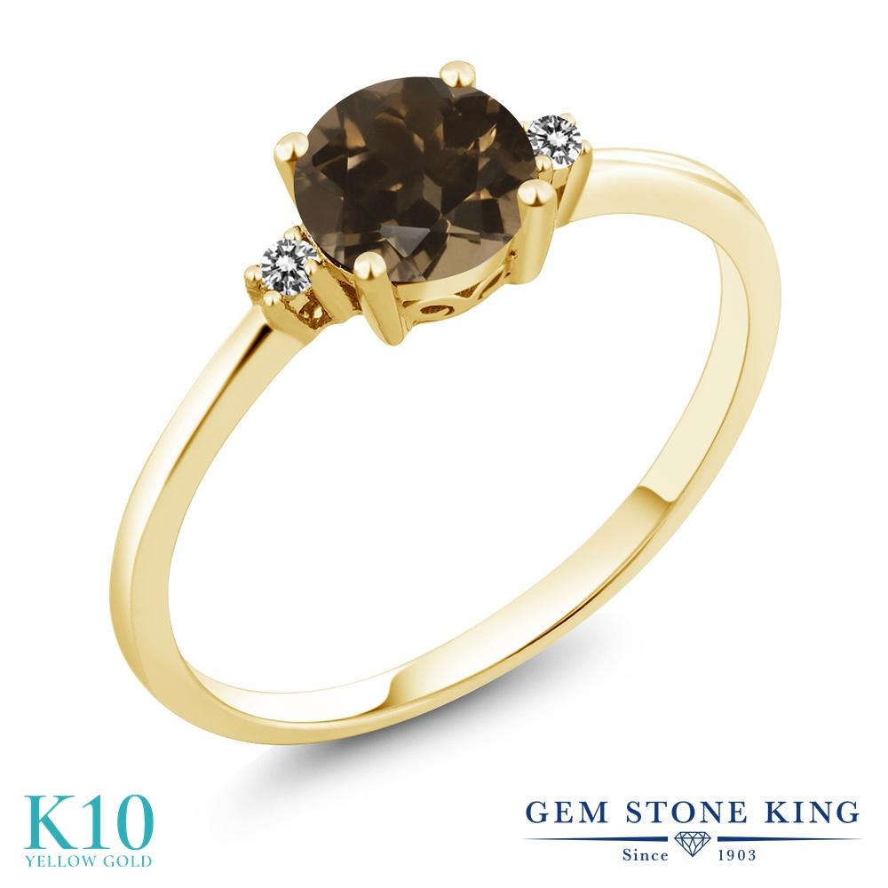 Gem Stone King 0.83カラット 天然 スモーキークォーツ (ブラウン) 天然 ダイヤモンド 10金 イエローゴールド(K10) 指輪 リング レディース 一粒 シンプル ソリティア 天然石 金属アレルギー対応 婚約指輪 エンゲージリング