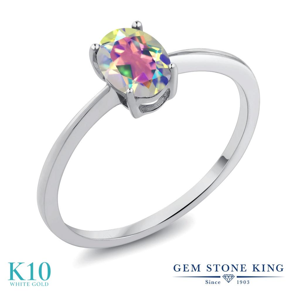 0.8カラット 天然石 ミスティックトパーズ (マーキュリーミスト) 指輪 レディース リング 10金 ホワイトゴールド K10 ブランド おしゃれ 一粒 シンプル 細身 ソリティア プレゼント 女性 彼女 妻 誕生日