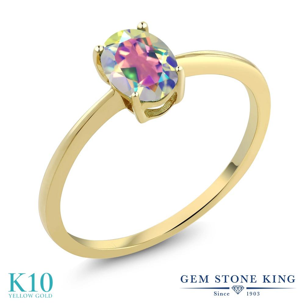 Gem Stone King 0.8カラット 天然石 ミスティックトパーズ (マーキュリーミスト) 10金 イエローゴールド(K10) 指輪 リング レディース 一粒 シンプル ソリティア 天然石 金属アレルギー対応 婚約指輪 エンゲージリング