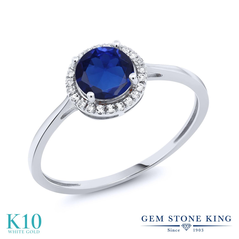 Gem Stone King 1.22カラット シミュレイテッド サファイア 天然 ダイヤモンド 10金 ホワイトゴールド(K10) 指輪 リング レディース 大粒 ヘイロー 金属アレルギー対応 誕生日プレゼント