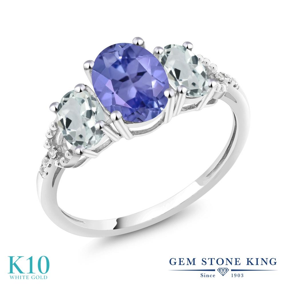 Gem Stone King 2.07カラット 天然石 タンザナイト 天然 アクアマリン 天然 ダイヤモンド 10金 ホワイトゴールド(K10) 指輪 リング レディース 大粒 スリーストーン 天然石 12月 誕生石 金属アレルギー対応 婚約指輪 エンゲージリング