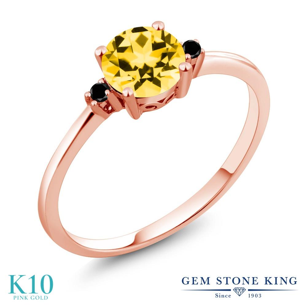 Gem Stone King 1.03カラット 天然石 トパーズ ハニースワロフスキー 天然ブラックダイヤモンド 10金 ピンクゴールド(K10) 指輪 リング レディース 大粒 シンプル ソリティア 天然石 金属アレルギー対応 誕生日プレゼント