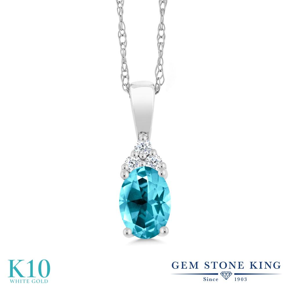 【クーポンで7%OFF】 Gem Stone King 1カラット 天然石 パライバトパーズ (スワロフスキー 天然石シリーズ) 天然 ダイヤモンド 10金 ホワイトゴールド(K10) ネックレス ペンダント レディース 大粒 プレゼント 女性 彼女 誕生日 クリスマス
