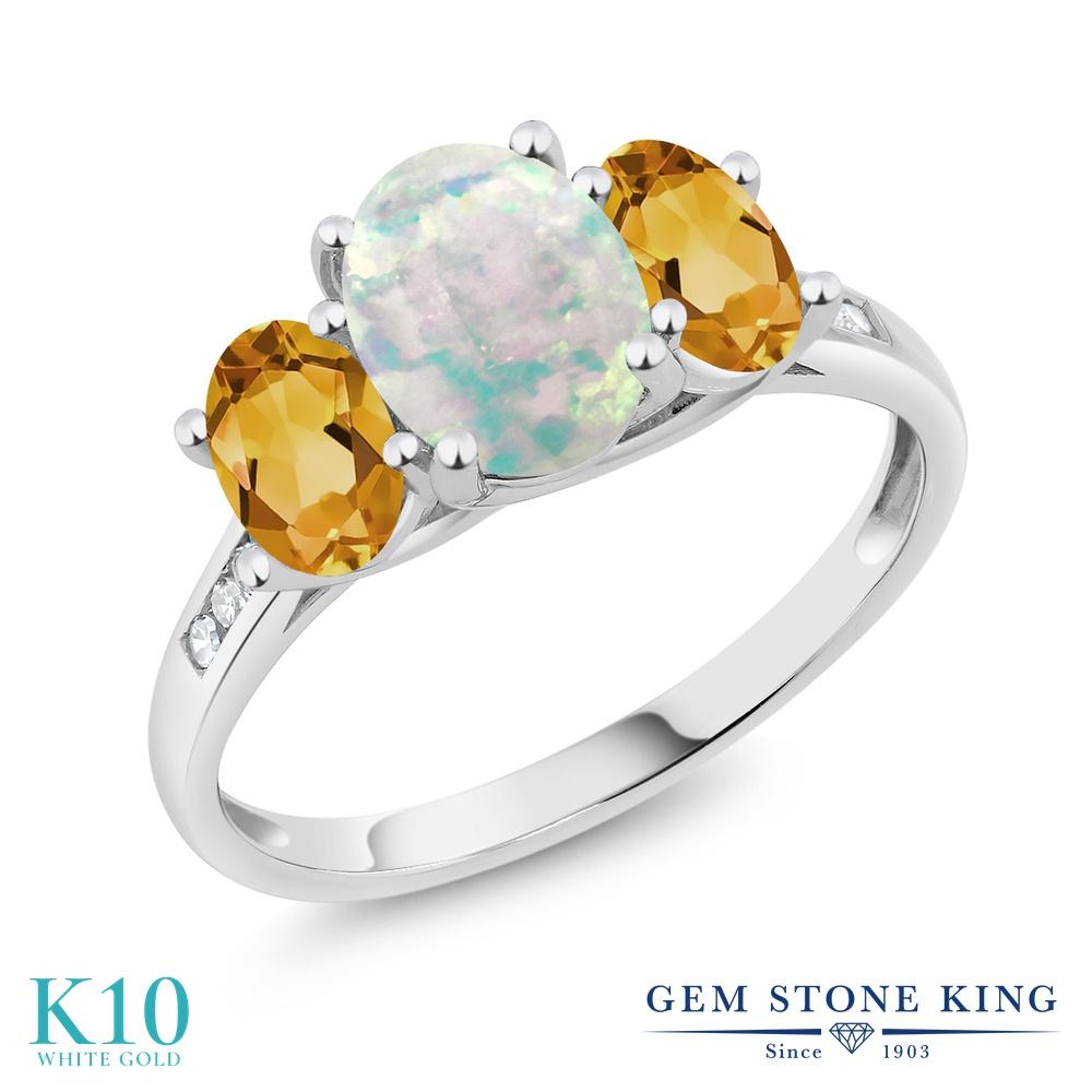 Gem Stone King 1.85カラット シミュレイテッド ホワイトオパール 天然 シトリン 天然 ダイヤモンド 10金 ホワイトゴールド(K10) 指輪 リング レディース 大粒 スリーストーン 10月 誕生石 金属アレルギー対応 誕生日プレゼント