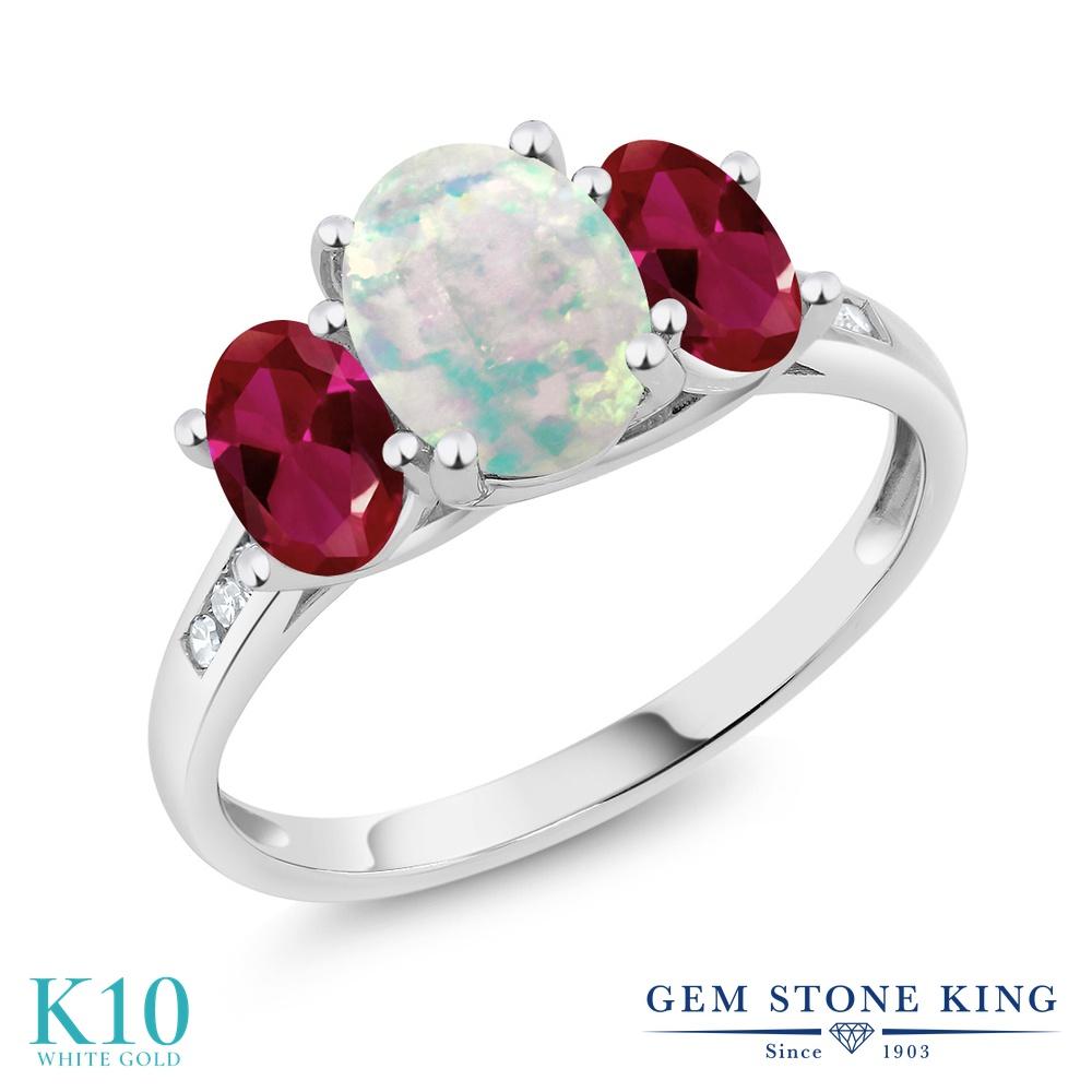 Gem Stone King 2.05カラット シミュレイテッド ホワイトオパール 合成ルビー 天然 ダイヤモンド 10金 ホワイトゴールド(K10) 指輪 リング レディース 大粒 スリーストーン 10月 誕生石 金属アレルギー対応 誕生日プレゼント