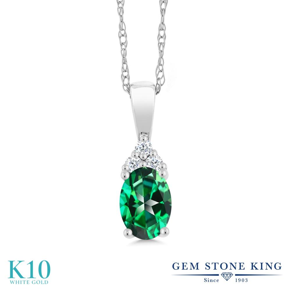 【クーポンで7%OFF】 Gem Stone King 0.5カラット 天然石 トパーズ レインフォレスト (スワロフスキー 天然石シリーズ) 天然 ダイヤモンド 10金 ホワイトゴールド(K10) ネックレス ペンダント レディース 小粒 プレゼント 女性 彼女 誕生日 クリスマス