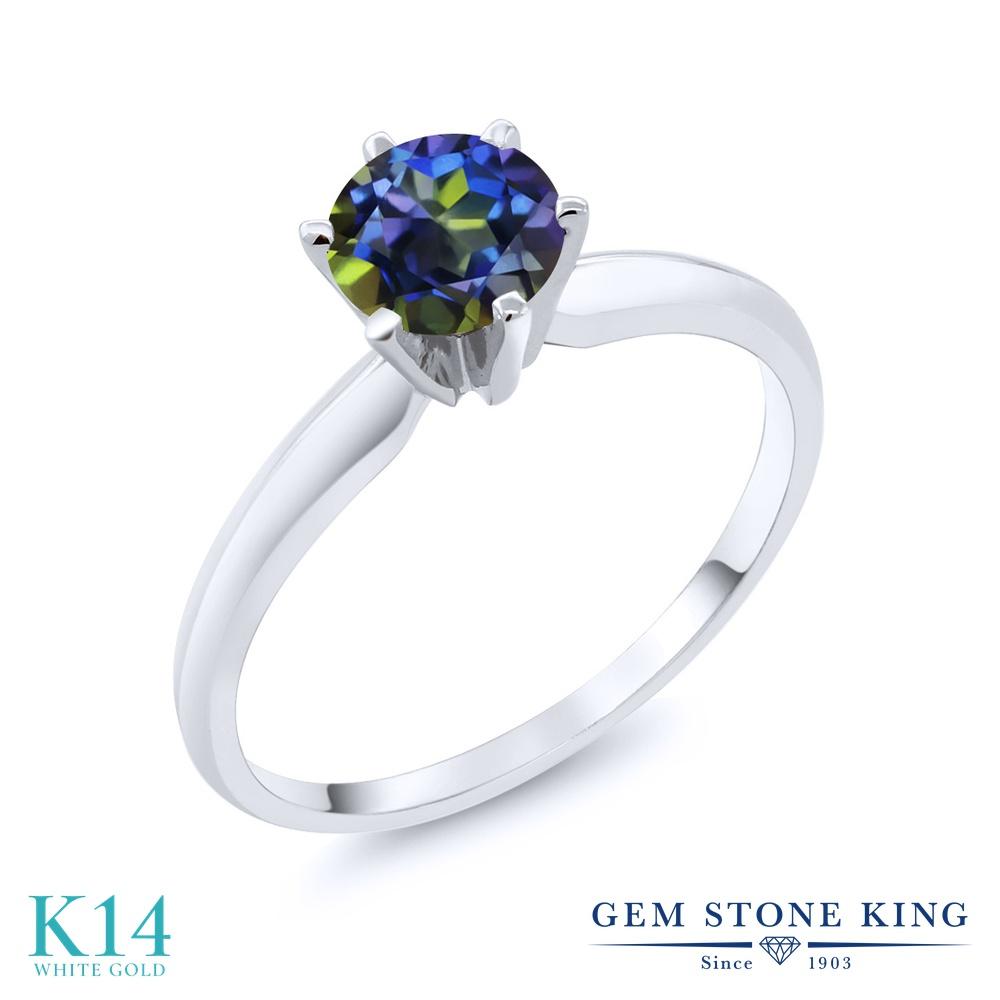 Gem Stone King 1カラット 天然石 ミスティックトパーズ (ブルー) 14金 ホワイトゴールド(K14) 指輪 リング レディース 大粒 一粒 シンプル ソリティア 天然石 金属アレルギー対応 婚約指輪 エンゲージリング