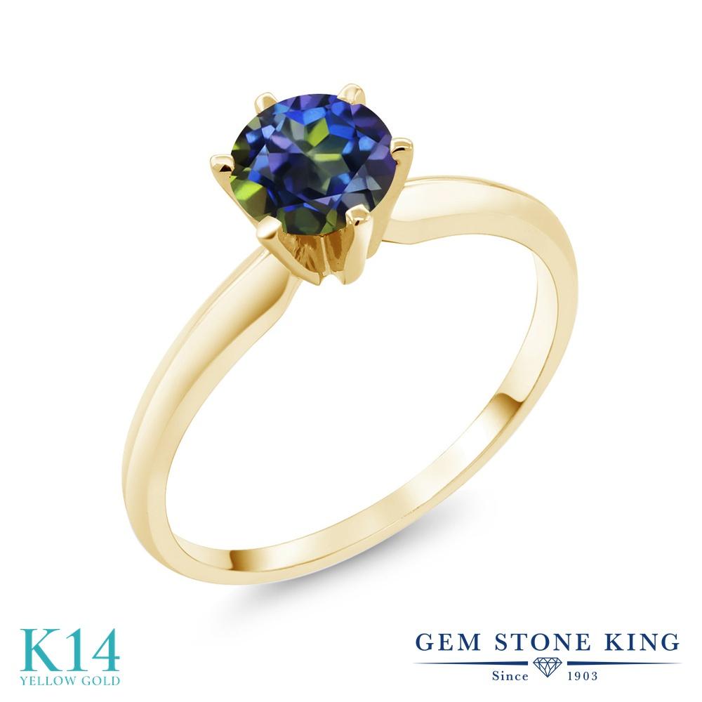Gem Stone King 1カラット 天然石 ミスティックトパーズ (ブルー) 14金 イエローゴールド(K14) 指輪 リング レディース 大粒 一粒 シンプル ソリティア 天然石 金属アレルギー対応 婚約指輪 エンゲージリング