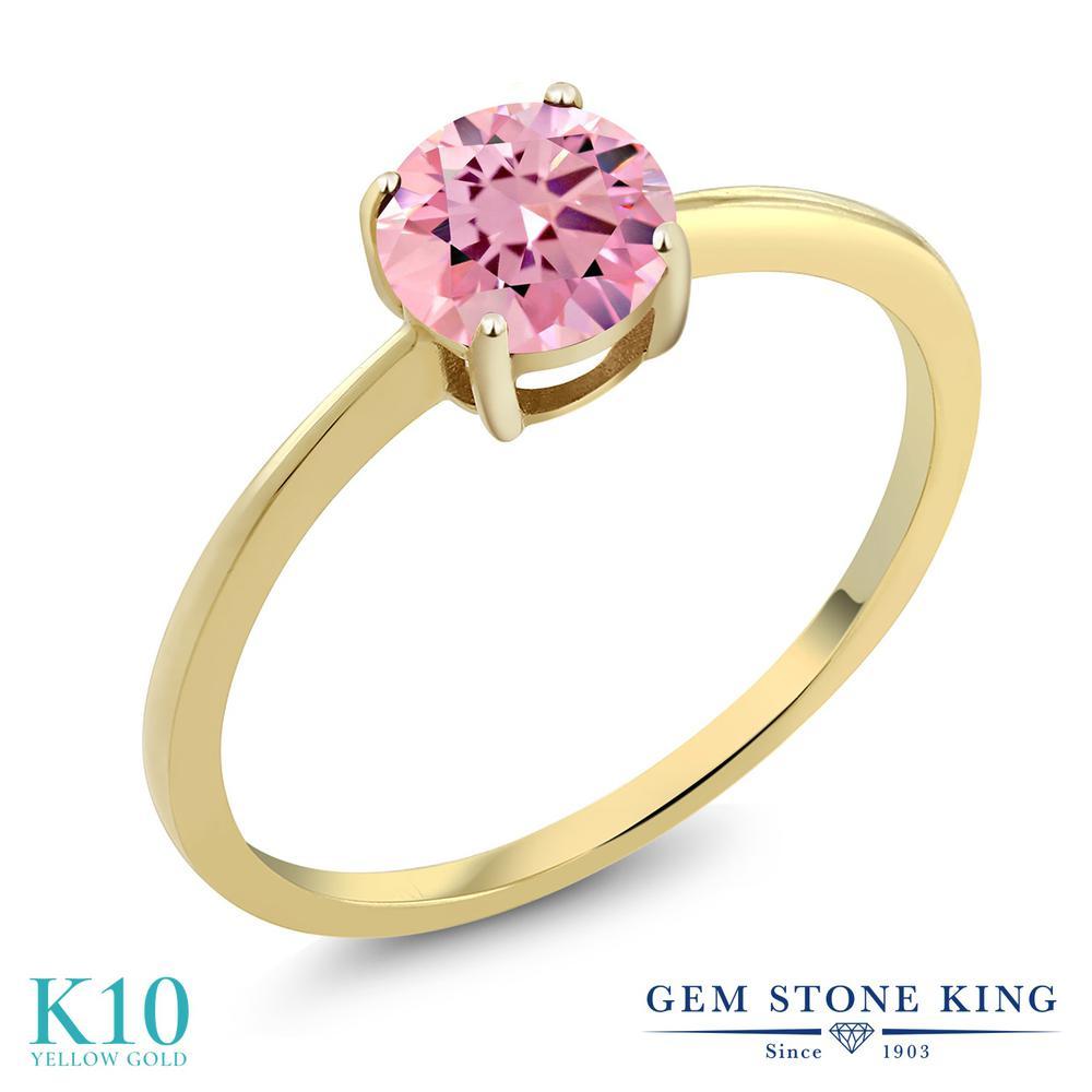 ジルコニア (ピンク) 指輪 レディース リング 10金 イエローゴールド K10 ブランド おしゃれ 一粒 CZ 大粒 シンプル 細身 ソリティア 金属アレルギー対応