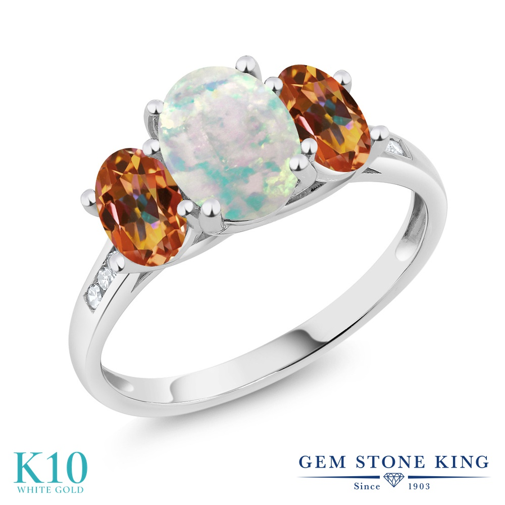 Gem Stone King 2.05カラット シミュレイテッド ホワイトオパール 天然石 エクスタシーミスティックトパーズ 天然 ダイヤモンド 10金 ホワイトゴールド(K10) 指輪 リング レディース 大粒 スリーストーン 10月 誕生石 金属アレルギー対応 誕生日プレゼント