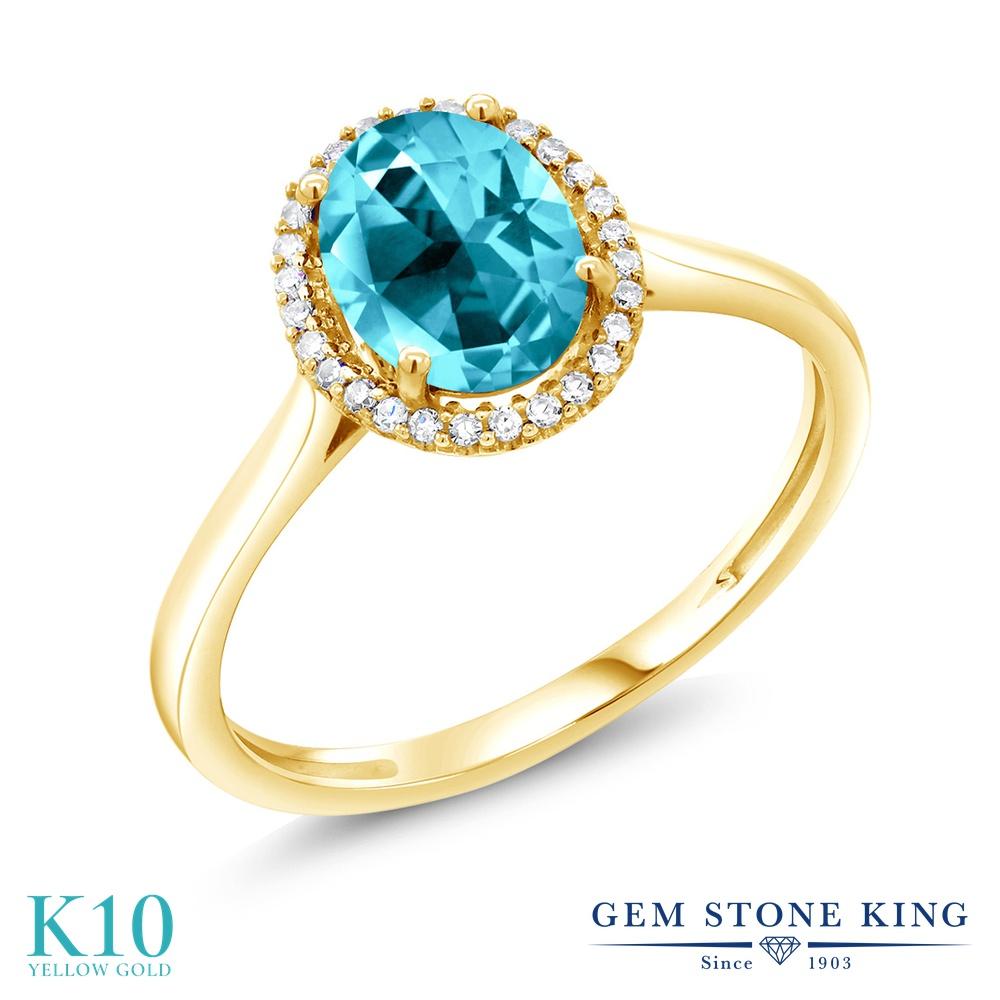 Gem Stone King 1.32カラット 天然石トパーズ パライバ (スワロフスキー 天然石シリーズ) 10金 イエローゴールド(K10) 天然ダイヤモンド 指輪 リング レディース 大粒 天然石 誕生日プレゼント