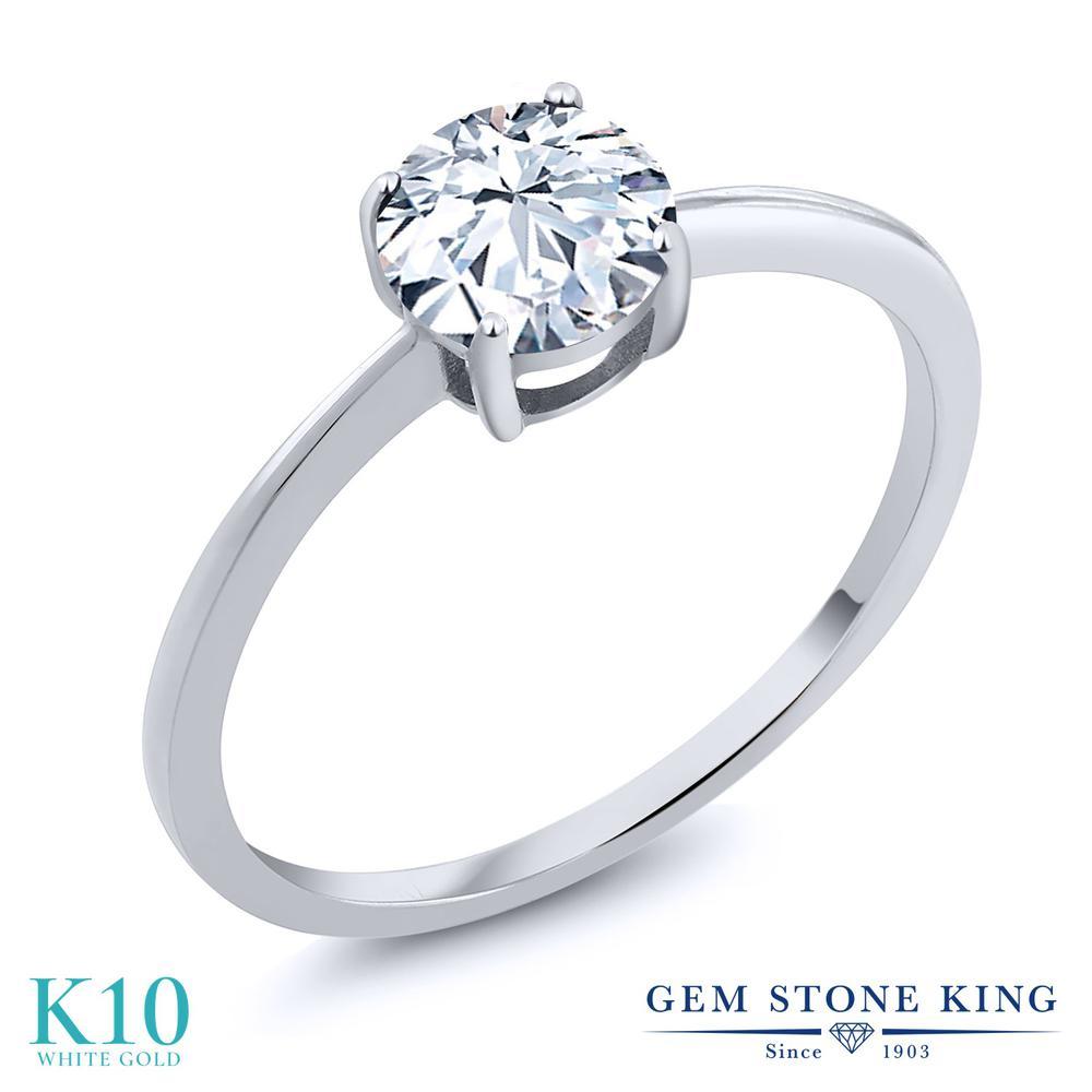 ジルコニア 指輪 レディース リング 10金 ホワイトゴールド K10 ブランド おしゃれ 一粒 CZ 白 大粒 シンプル 細身 ソリティア 金属アレルギー対応