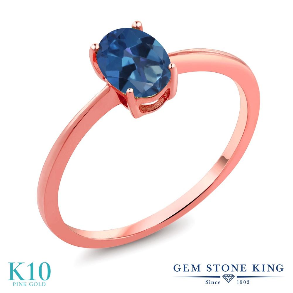 Gem Stone King 0.8カラット 天然 ミスティックトパーズ (サファイアブルー) 10金 ピンクゴールド(K10) 指輪 リング レディース 一粒 シンプル ソリティア 天然石 金属アレルギー対応 誕生日プレゼント