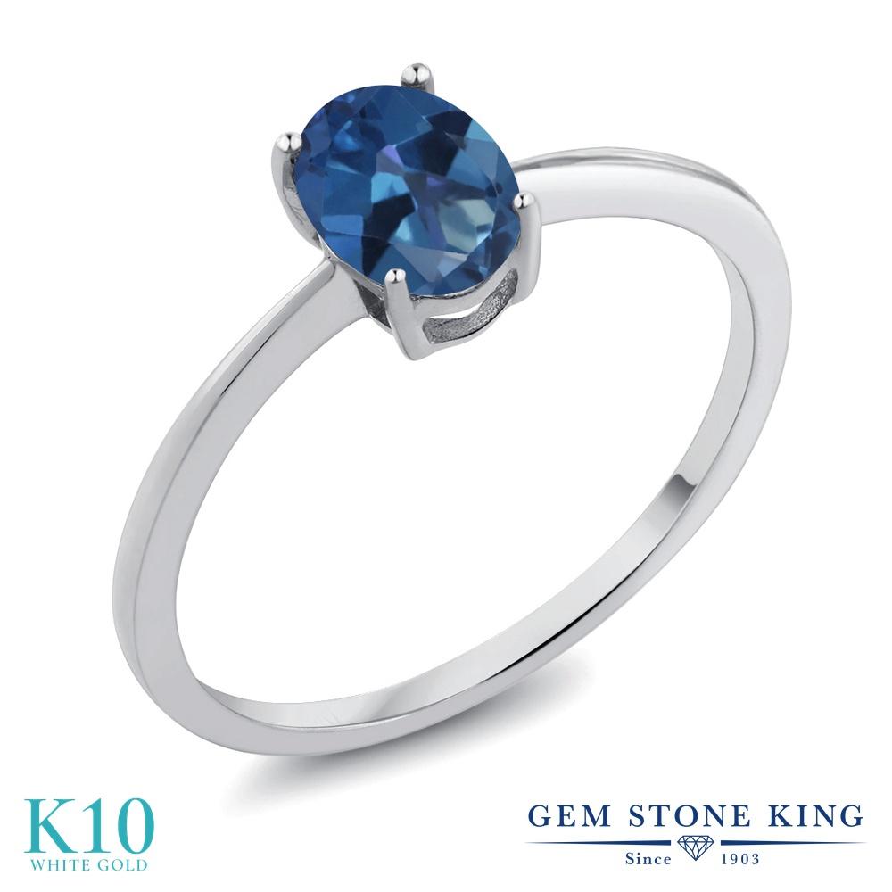 Gem Stone King 0.8カラット 天然 ミスティックトパーズ (サファイアブルー) 10金 ホワイトゴールド(K10) 指輪 リング レディース 一粒 シンプル ソリティア 天然石 金属アレルギー対応 誕生日プレゼント