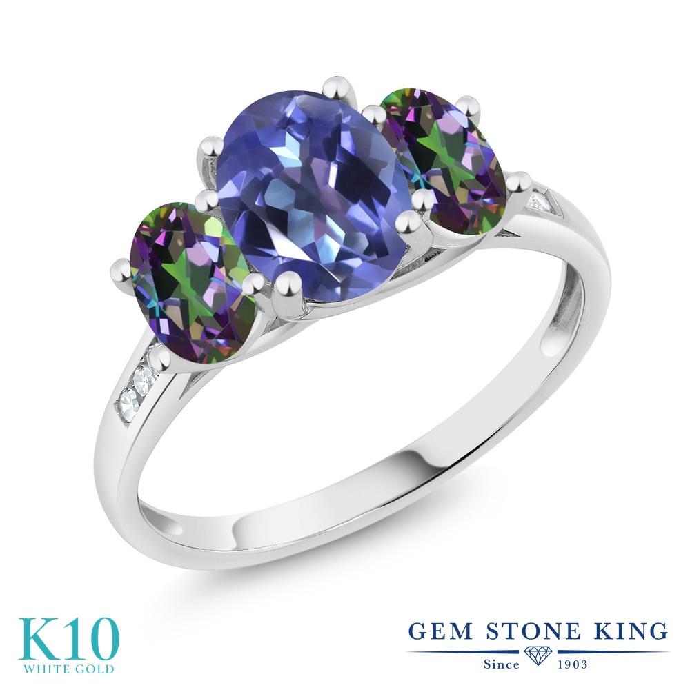 Gem Stone King 2.3カラット 天然 ミスティックトパーズ (タンザナイトブルー) 天然石 ミスティックトパーズ (グリーン) 天然 ダイヤモンド 10金 ホワイトゴールド(K10) 指輪 リング レディース 大粒 スリーストーン 天然石 金属アレルギー対応 誕生日プレゼント