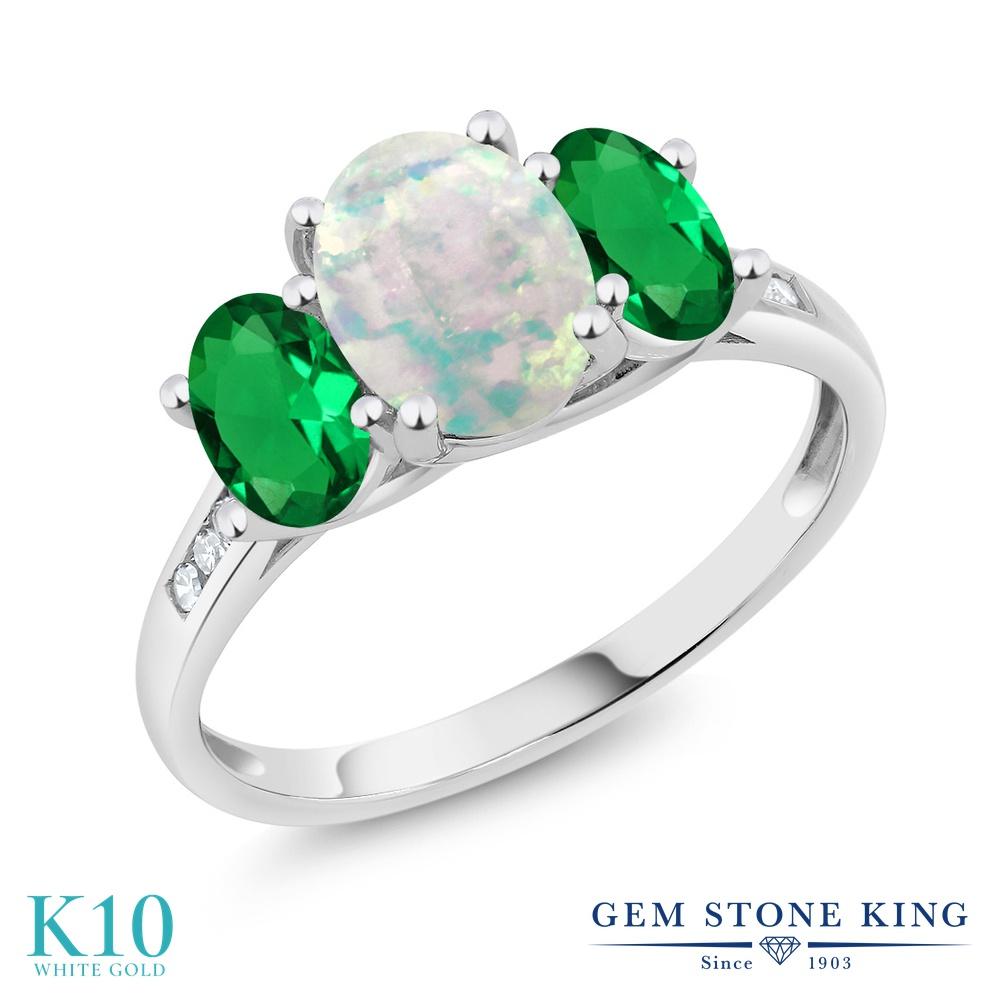 Gem Stone King 1.85カラット シミュレイテッド ホワイトオパール ナノエメラルド 天然 ダイヤモンド 10金 ホワイトゴールド(K10) 指輪 リング レディース 大粒 スリーストーン 10月 誕生石 金属アレルギー対応 誕生日プレゼント