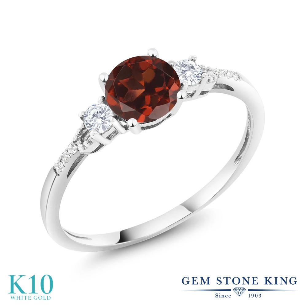 Gem Stone King 1.15カラット 天然 ガーネット 合成ホワイトサファイア (ダイヤのような無色透明) 天然 ダイヤモンド 10金 ホワイトゴールド(K10) 指輪 リング レディース 大粒 マルチストーン 天然石 1月 誕生石 金属アレルギー対応 誕生日プレゼント