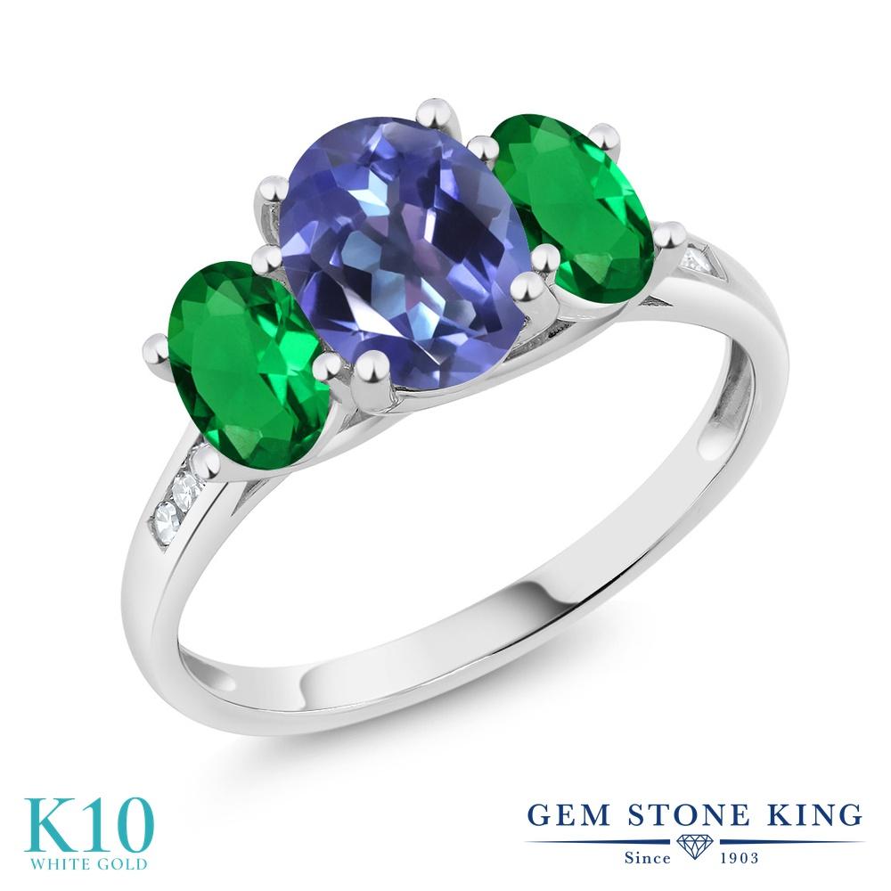 Gem Stone King 2.1カラット 天然 ミスティックトパーズ (タンザナイトブルー) ナノエメラルド 天然 ダイヤモンド 10金 ホワイトゴールド(K10) 指輪 リング レディース 大粒 スリーストーン 天然石 金属アレルギー対応 誕生日プレゼント