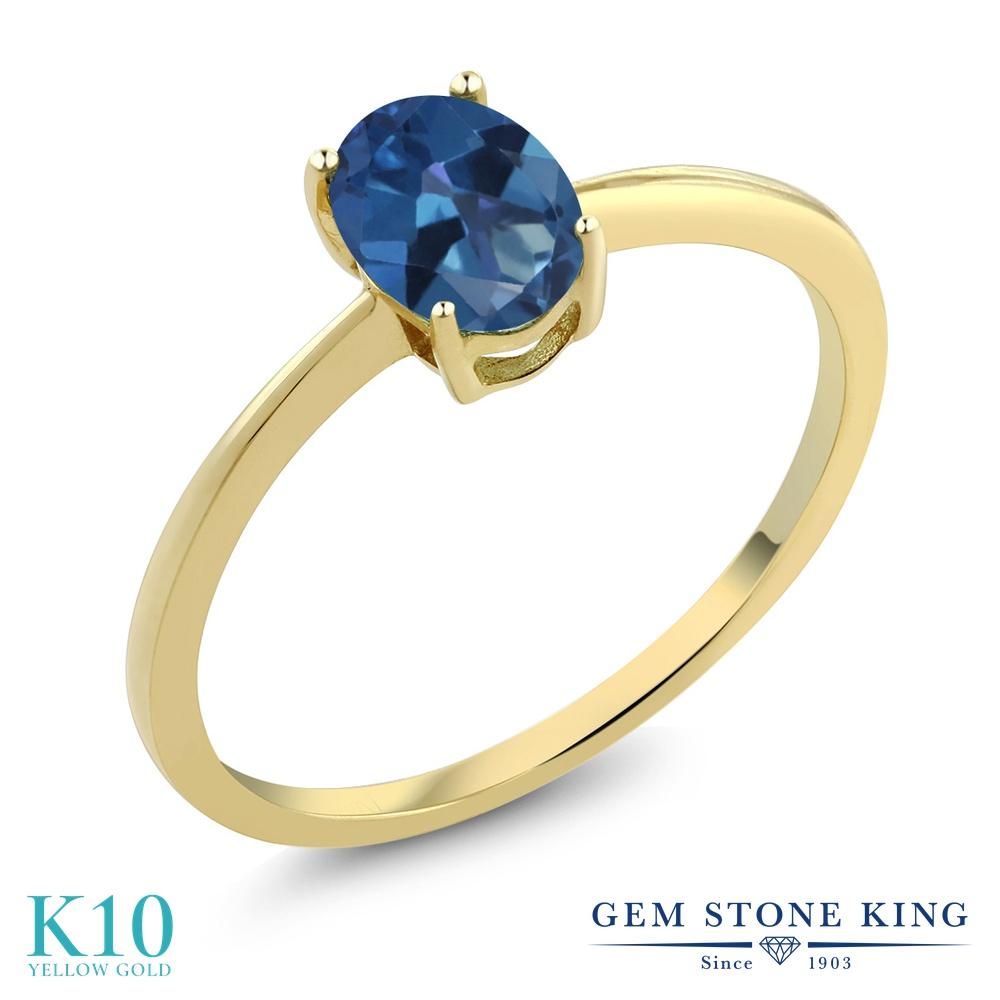 Gem Stone King 0.8カラット 天然 ミスティックトパーズ (サファイアブルー) 10金 イエローゴールド(K10) 指輪 リング レディース 一粒 シンプル ソリティア 天然石 金属アレルギー対応 婚約指輪 エンゲージリング