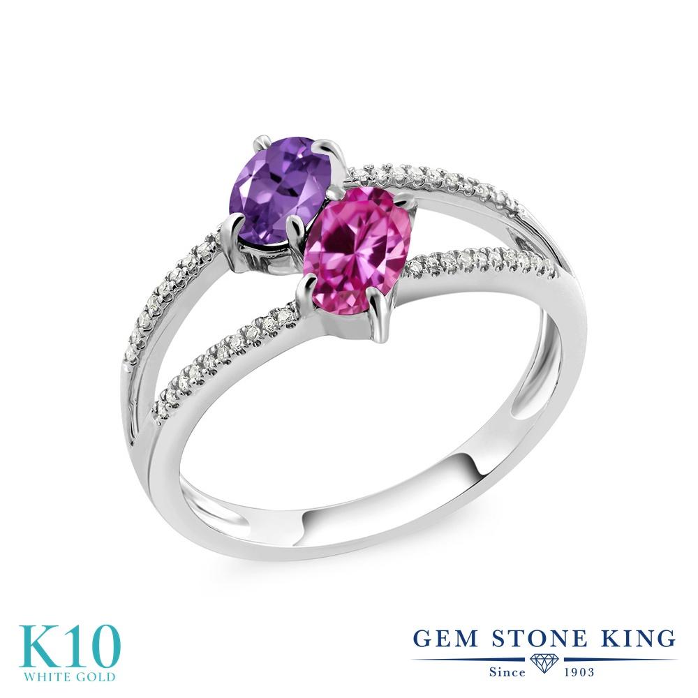 Gem Stone King 1.13カラット 天然 アメジスト 合成ピンクサファイア 天然 ダイヤモンド 10金 ホワイトゴールド(K10) 指輪 リング レディース 小粒 ダブルストーン 天然石 2月 誕生石 金属アレルギー対応 誕生日プレゼント