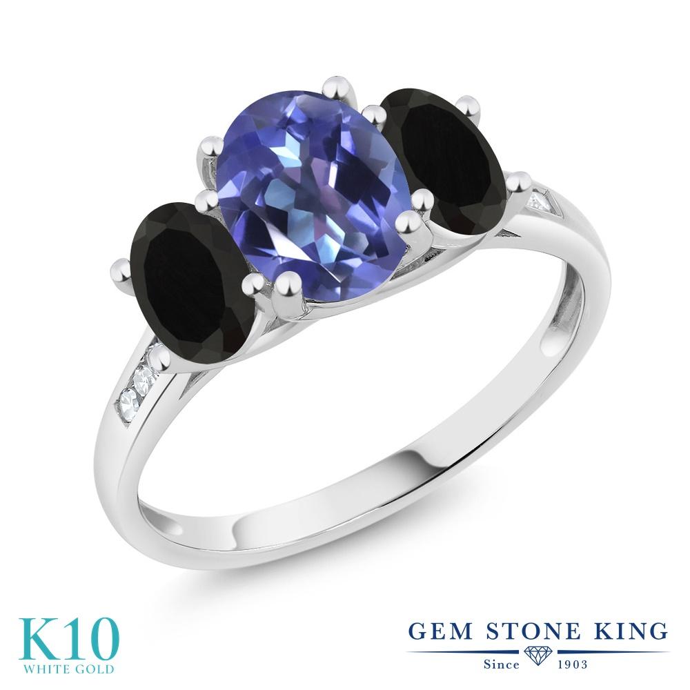 Gem Stone King 2.08カラット 天然 ミスティックトパーズ (タンザナイトブルー) 天然 オニキス 天然 ダイヤモンド 10金 ホワイトゴールド(K10) 指輪 リング レディース 大粒 スリーストーン 天然石 金属アレルギー対応 誕生日プレゼント