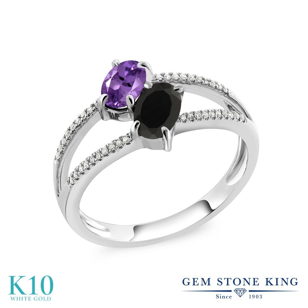 Gem Stone King 1.02カラット 天然 アメジスト 天然 オニキス 天然 ダイヤモンド 10金 ホワイトゴールド(K10) 指輪 リング レディース 小粒 ダブルストーン 天然石 2月 誕生石 金属アレルギー対応 誕生日プレゼント