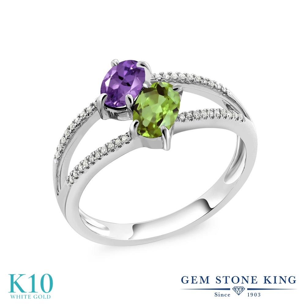Gem Stone King 1.13カラット 天然 アメジスト 天然石 ペリドット 天然 ダイヤモンド 10金 ホワイトゴールド(K10) 指輪 リング レディース 小粒 ダブルストーン 天然石 2月 誕生石 金属アレルギー対応 誕生日プレゼント