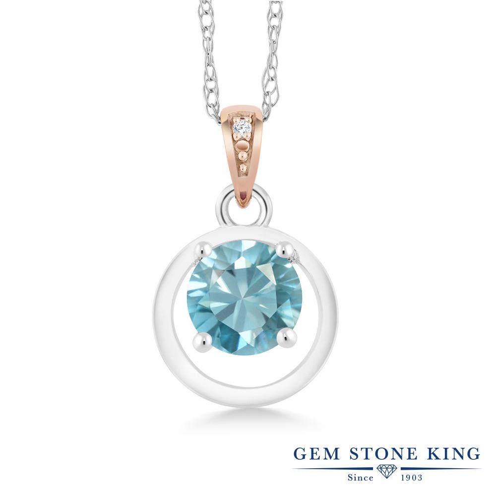 Gem Stone King 1.2カラット 天然石 ジルコン(ブルー) シルバー925 &10金 ピンクゴールド (K10) 天然ダイヤモンド ネックレス ペンダント レディース 大粒 シンプル 天然石 誕生日プレゼント