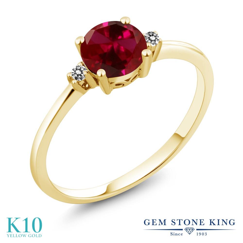 Gem Stone King 1.03カラット 合成ルビー 天然 ダイヤモンド 10金 イエローゴールド(K10) 指輪 リング レディース 大粒 一粒 シンプル ソリティア 金属アレルギー対応 婚約指輪 エンゲージリング
