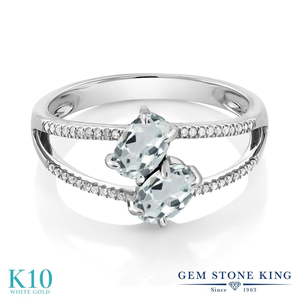 Gem Stone King 1.14カラット 天然 アクアマリン 天然 ダイヤモンド 10金 ホワイトゴールド(K10) 指輪 リング レディース 小粒 ダブルストーン 天然石 3月 誕生石 金属アレルギー対応 誕生日プレゼント