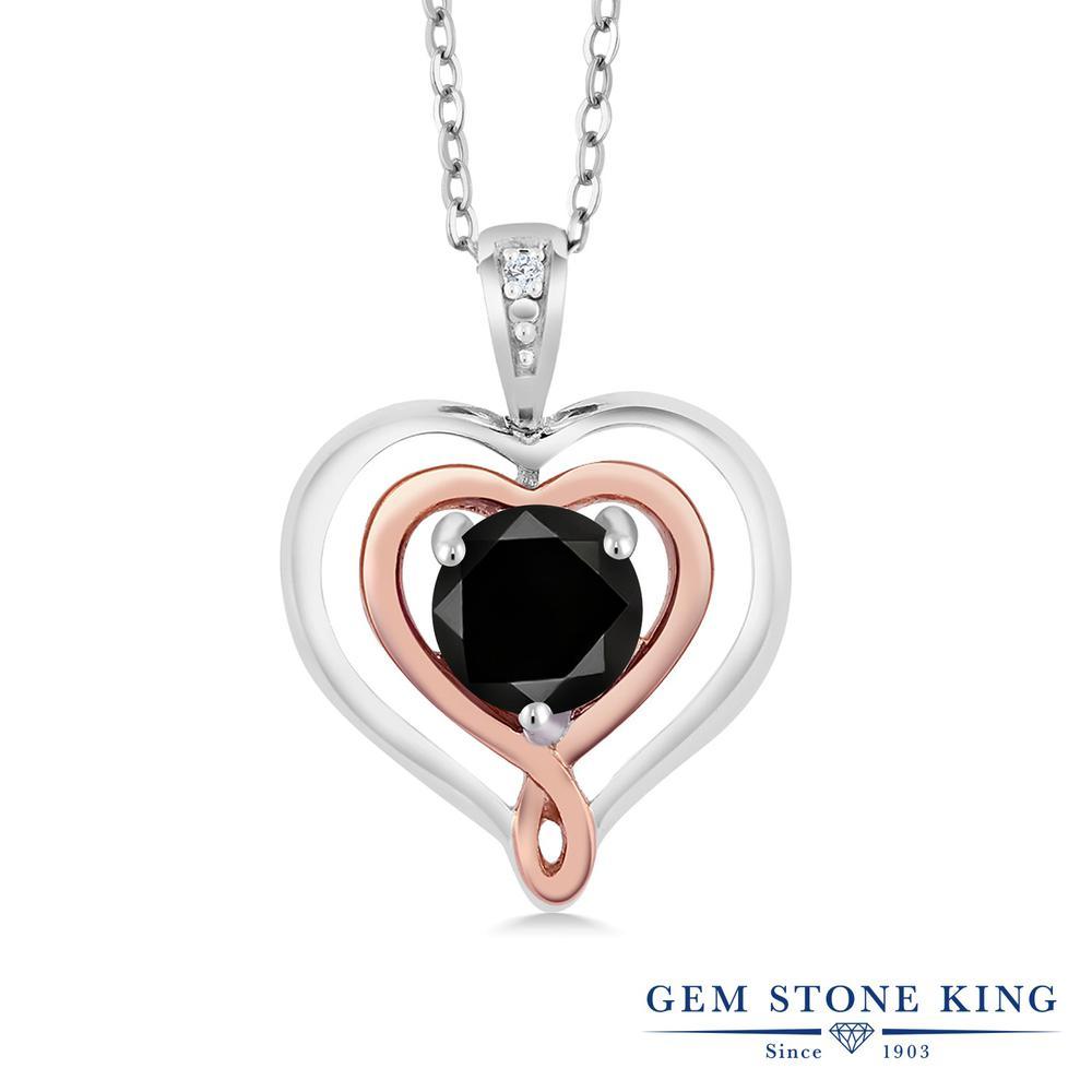 Gem Stone King 0.55カラット 天然ブラックダイヤモンド シルバー925 &10金 ピンクゴールド (K10) ネックレス ペンダント レディース ブラック ダイヤ 一粒 シンプル 天然石 4月 誕生石 金属アレルギー対応 誕生日プレゼント