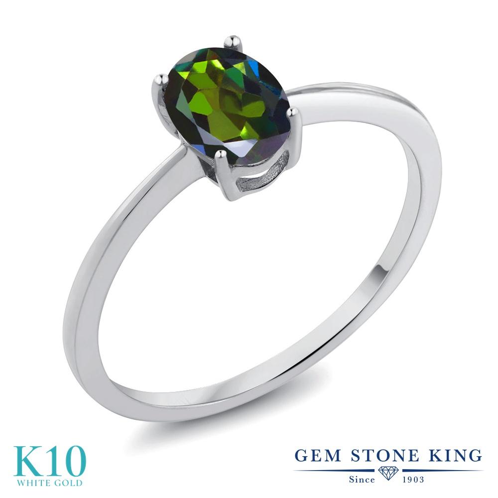 Gem Stone King 0.8カラット 天然 ミスティックトパーズ (トルマリングリーン) 10金 ホワイトゴールド(K10) 指輪 リング レディース 一粒 シンプル ソリティア 天然石 金属アレルギー対応 誕生日プレゼント