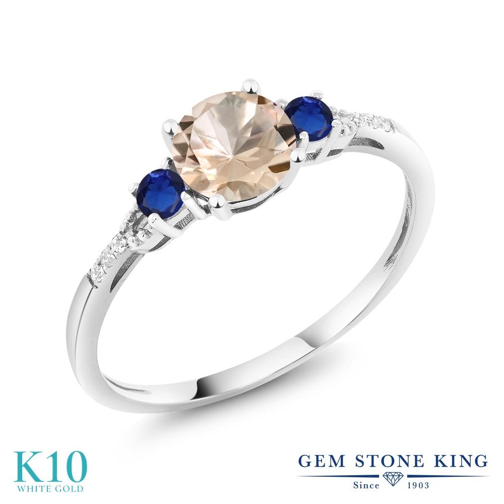 【10%OFF】 Gem Stone King 0.81カラット 天然 モルガナイト (ピーチ) ダイヤモンド 指輪 リング レディース 10金 ホワイトゴールド K10 マルチストーン 天然石 3月 誕生石 クリスマスプレゼント 女性 彼女 妻 誕生日