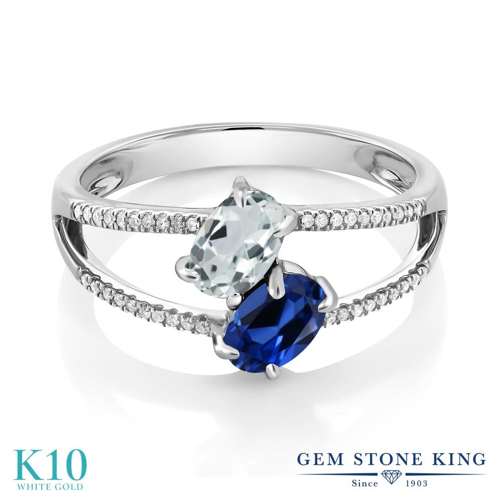 Gem Stone King 1.21カラット 天然 アクアマリン シミュレイテッド サファイア 天然 ダイヤモンド 10金 ホワイトゴールド(K10) 指輪 リング レディース 小粒 ダブルストーン 天然石 3月 誕生石 金属アレルギー対応 誕生日プレゼント