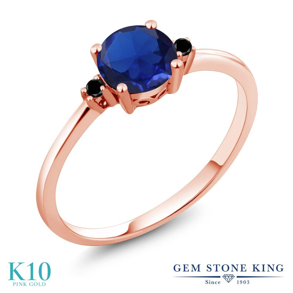 Gem Stone King 0.78カラット シミュレイテッド サファイア 天然ブラックダイヤモンド 10金 ピンクゴールド(K10) 指輪 リング レディース 一粒 シンプル ソリティア 金属アレルギー対応 婚約指輪 エンゲージリング