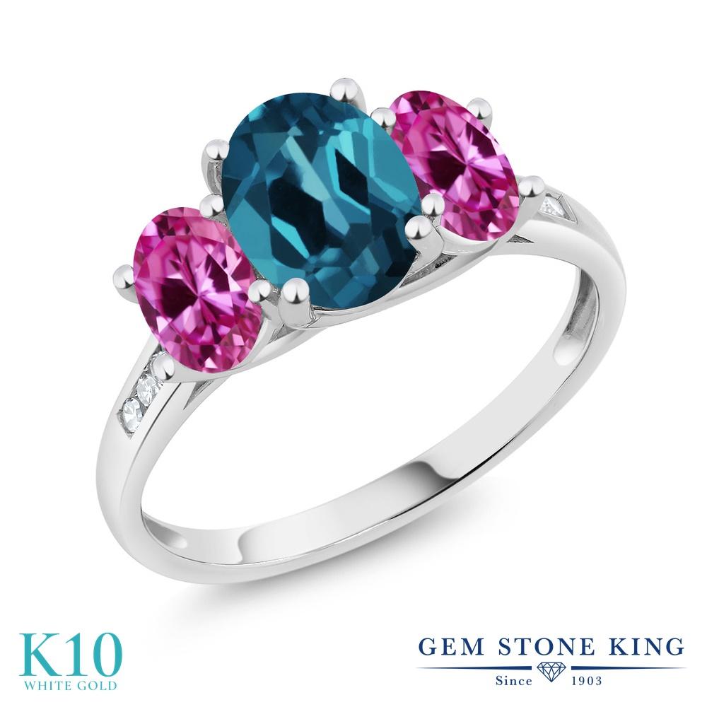 Gem Stone King 2.3カラット 天然 ロンドンブルートパーズ 合成ピンクサファイア 天然 ダイヤモンド 10金 ホワイトゴールド(K10) 指輪 リング レディース 大粒 スリーストーン 天然石 11月 誕生石 金属アレルギー対応 誕生日プレゼント